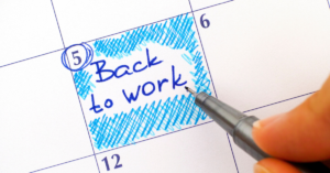 Back to work note on calendar