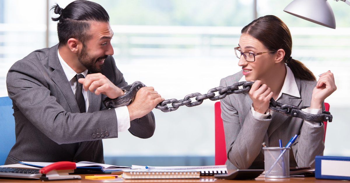 chained employee to show employee retention